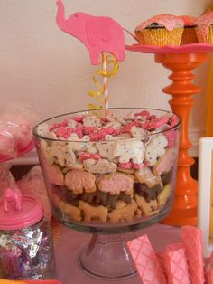 Circus baby shower with pink, orange and yellow.   CatchMyParty.com
