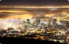 Cape Town by night with mist.