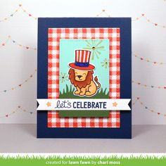 Lawn Fawn - Critters on the Savanna, Gingham Backdrops, Happy 4th, Everyday Sentiment Banners, Blue Jay cardstock, Lobster ink pad _ card by Chari for Lawn Fawn Design Team