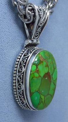 Large Mojave Green Copper Turquoise Pendant - Sterling Silver - Oval - Victorian Filigree Design - 171736