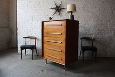 Winsome Widdicomb Mid-Century Modern Walnut Tall Dresser (Grand Rapids, Mi, 1957) | Peabody cowhorn chairs for Richardson Nemschoff  Source: flickr.com/photos/kinzco