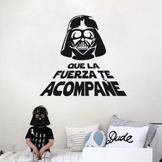 Find More Wall Stickers Information about Spanish Version May The Force Be With You War Star Quote WALL STICKER Home Decor Vinyl darth vader Decal DIY house decoration,High Quality decorate house party,China house decoration christmas Suppliers, Cheap decorating house for wedding from Big dream on Aliexpress.com