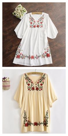 Mexico, anyone? Pack this colorful floral print embroidered peasant top for your vacation and stay cool in style! One size, fits XS/S-possibly Medium. Available in white or beige. This would be a very