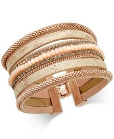 Inc International Concepts Rose Gold-Tone Wide Faux Leather Beaded Bracelet, Only at Macy's - Gold