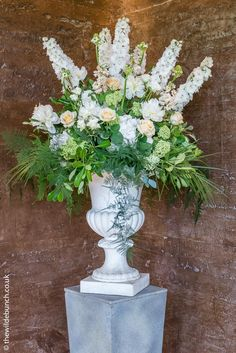 A stunning tall plinth design that works so well against the 'scorched' earth wa. - My site Wedding Designs, Wedding Styles, Elmore Court, The Scorch, Fountain, Wedding Flowers, Floral Design, Outdoor Decor, Walls
