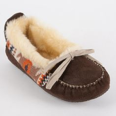 @Overstock - Keep your feet toasty warm around the house with this pair of womens Muk Luks slippers. Crafted from cozy polysuede with a nifty pattern in acrylic, these durable faux-fur lined slippers look good, while the padded footbed provides casual comfort.http://www.overstock.com/Clothing-Shoes/Muk-Luks-Tobey-Moccasin-Slipper/7025905/product.html?CID=214117 $33.99