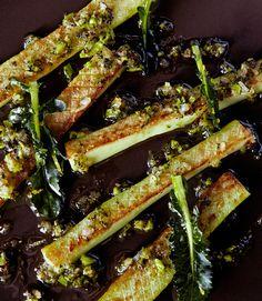Sauteed broccoli stems with floret vinaigrette