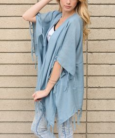 Loving this Blue Gauze Tassel Kimono on #zulily! #zulilyfinds