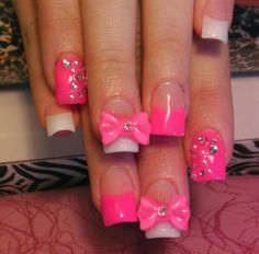 Pink Nails With 3D Bow & Rhinestones