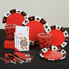 "This Vegas Casino Night Standard Party Pack for 8 includes  1 x 8Pk of ""Casino Card Night"" party invitations,   1 x 8Pk of ""Casino Card Night"" paper dinner plates  1 x 8Pk of ""Casino Card Night"" paper dessert plates  1 x 8Pk of ""Casino Card Night"" plastic Beer cups   1 x 24Pk of Plastic  Black cutlery (8 forks, 8 Knives and 8 spoons)   1 x 16Pk of ""Casino Night"" Serviettes napkins  1 x Black solid colour table cover (137cm x 274cm) . $39.99"