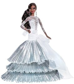 As the snowflakes fall, our 2008 holiday Barbie doll sparkles in a shimmering white and silvery gown. Celebrating 20 years of holiday-themed Barbie dolls, she wears a glitter-detailed gown with a tiered pleated skirt and chandelier earrings. Mattel Barbie, Barbie 2000, Barbie Dress, Barbie Clothes, Barbie Stuff, Diva Fashion, Fashion Dolls, Christmas Barbie, African American Dolls