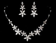 Crystal Bridal necklace, Bridal earrings, Bridal jewelry set, Necklace and earrings set, Rhinestone flower earrings