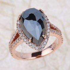 14k rose gold engagement ring 4.60ctw  Round Brilliant Cut Diamond the center is 3.75ct pear shape AAA black diamond