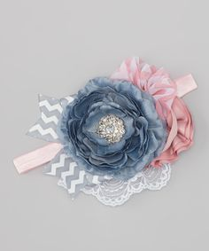 Take a look at this Gray & Pink Flower Headband on zulily today!