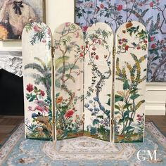 Miniature dressing screen - French century style, chinoiserie shabby chic, wooden dollhouse furniture in scale - Miniature dressing screen – French century style, chinoiserie shabby chic, wooden dollhouse -