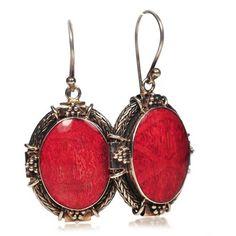 Kolczyki z czerwonego koralowca i srebra w próbie jubilerskiej 925