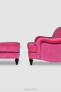 Not neutral. Our Basel tight-back English roll arm chair and matching ottoman in pink velvet. (Or is it fuchsia velvet?)