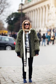 green fur coat, skinny jeans and scarf at #NYFW via carolines mode