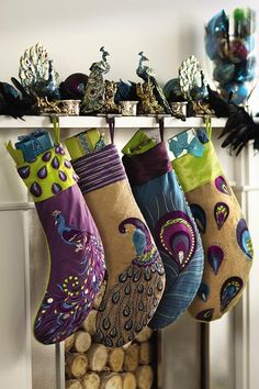 Turquoise Peacock Stocking...@Kathryn Roney...this is screaming your name!