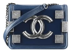 CHANEL Peacock blue leather bag