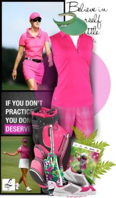 A golf set that's so pink and sporty! Only at lorisgolfshoppe.polyvore.com #golf #fashion #ootd #lorisgolfshoppe