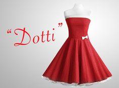 Petticoatkleider - Petticoat Kleid Tanzkleid rot weiß gepunktet 50er - ein Designerstück von Miss-Bobby bei DaWanda