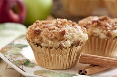 We top our fresh apple and spice-baked Fresh Apple Cinnamon Muffins with a nutty, brown sugar blend, that's really incredible! It's all the flavors you love, mixed into one really conveniently-sized treat. We think you might need to make a couple of batches! | MrFood.com
