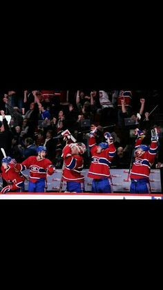 The Canadiens bench exults after David Desharnais scored the tying goal against Ottawa with only seconds left in regulation time. A goal by Frank Boullion would win the game in overtime. Montreal Canadiens, Hockey Teams, 5 Seconds, Ottawa, Nhl, First Love, Empire, Bench, David