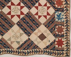 "detail - c. 1840, 86 x 94, Ossing, NY area, fabrics dating  back t0 1810, block prints & calicoes in blue, yellow, madder, brown & tan - Ohio Stars 10"" x 10"" blocks set on point, 5"" wide border of LeMoyne Stars, outer flying geese border is 3.25""; hand pieced & quilted in diagonal & horizontal parallel lines using linen thread, back is homespun linen, 3/8"" binding is brown calico."