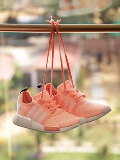 Adidas Originals #Women #Peach-Coloured NMD R1 W #Woven #Sneakers #shoes #Fashion #style Funky Shoes, Colorful Shoes, Nmd R1, Casual Sneakers, Casual Shoes, Adidas Originals, Color Durazno, Peach Cobblers, Adidas Sneakers