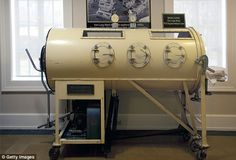 -A 1950's iron lung - has an attached pump that changes the amount and pressure of the air within the tank.
