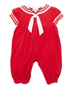 Look what I found on #zulily! Red Corduroy Sailor Bubble Romper - Infant #zulilyfinds