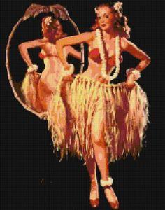 Retro Pin-Up Hawaiian Hula Girl Handmade Cross-Stitch Pattern