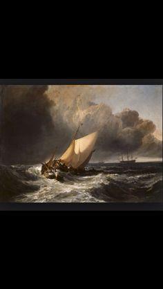 William Turner, dutch boat in a gale, 1801 Kenmerken: prachtige nabootsing van de golven, het schip dat moedeloos in de storm is beland  Licht donker contrast en emotie zie je hierin terug  Duidelijk detail en realistisch geschilderd