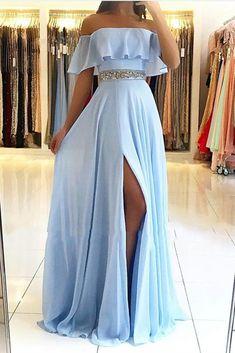 Split Prom Dresses, Pretty Prom Dresses, Chiffon Evening Dresses, Prom Dresses Blue, Cheap Prom Dresses, Ball Dresses, Sexy Dresses, Prom Dresses For Teens Long, Wedding Dresses