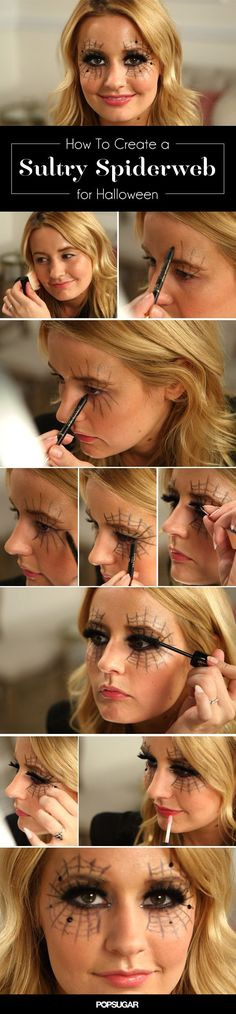 Don't know what to be for Halloween? Create this spooky spider web makeup with eyeliner and you have an easy costume!