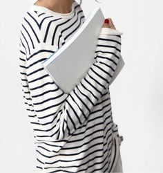 Perfect casual look. A hint of red (whether it's nails, lipstick or accessories) with stripes is an unbeatable combo
