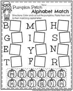 October Kindergarten Worksheets - Pumpkin Alphabet Match.