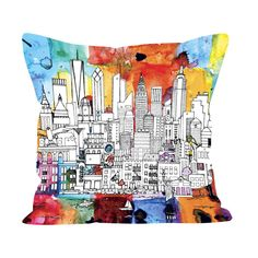 New York Cityscape Cushion New York Cityscape, Visit New York City, Nyc Skyline, Cushion Covers, House Warming, Weaving, Throw Pillows, Skyscrapers