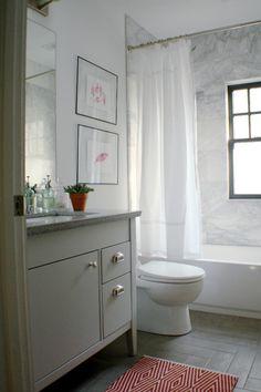 Marble tile tub surround allen+roth vanity painted wood look tile