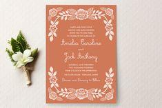 Block Printed Floral Wedding Invitations by Katharine Watson at minted.com