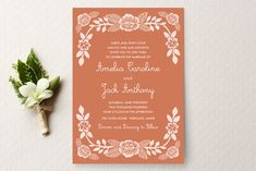 Floral Autumn Wedding Invitations never go out of season. This brown and white fall wedding stationery is a timeless classic. :-)