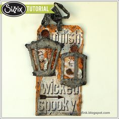 Sizzix Tutorial | Halloween Lantern Tag by Anna-Karin Evaldsson, with dies by Tim Holtz and Ranger Texture Paste.