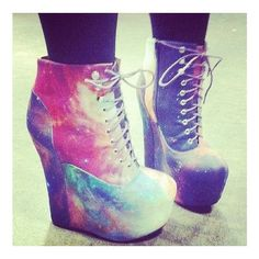 Galaxy Heels ($35) ❤ liked on Polyvore featuring shoes, boots, ankle booties, heels, sapatos, wedges, heel boots, galaxy boots, wedge heel ankle booties and wedge heel boots