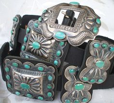 $REDUCED FROM $10000: Exquisite KIRK SMITH Sterling Silver Turquoise CONCHO BELT