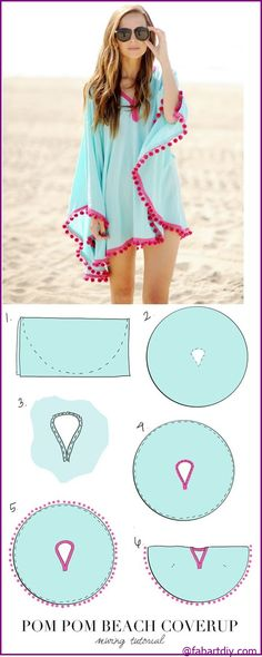 Fab Art DIY Easy Pom Pom Trim Beach Coverup | www.FabArtDIY.com #Fashion, #Sew => http://www.fabartdiy.com/fab-art-diy-easy-pom-pom-trim-beach-coverup/