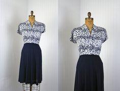1940s Dress  Vintage 40s Dress  Novelty Print Rayon by jumblelaya, $168.00