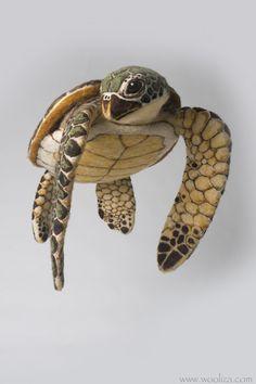 HONU Green Sea Turtle Sculpture made of Needle by WoolizaFiberArts