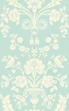 St Antoine (BP 946) - Farrow & Ball Wallpapers - A beautiful french damask creeping floral motif in a pictorial design. Shown here in white on sky blue water based paints - more colours are available. Please request a sample for true colour match
