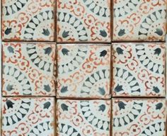 "Tabarka - Paris Metro 8, 4""x4"" Hand made, hand painted terra cotta ..."